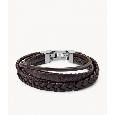 Мъжка гривна Vintage Casual Brown Braided Double