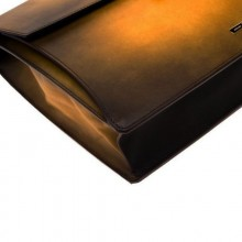 Бизнес куфар Atelier/ONE GUSSET BRIEFCASE ATELIER - BROWN LEATHER & GOLD FINISHES