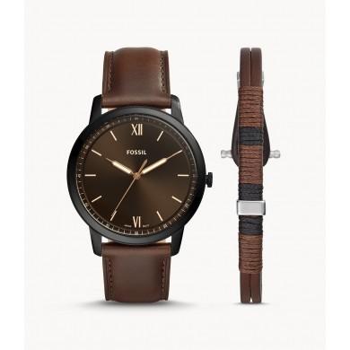 Minimalist Three-Hand Brown Leather and Bracelet Box Set