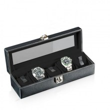 Кутия за часовници - Watch Box With Viewing Window Solid 5 - Black
