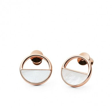 Дамски обеци Agnethe Rose-Gold-Tone and Mother-of-Pearl Stud