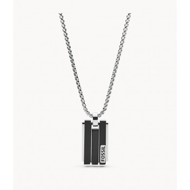 Мъжко колие Mens Dress Geometric Black and Silver-Tone Stainless Steel