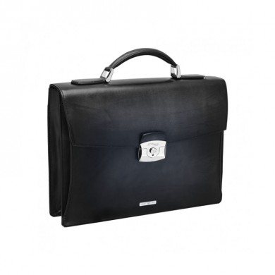 Бизнес куфар ATELIER/ONE GUSSETBLACK BRIEFCASE, LEATHER & SILVER FINISHES