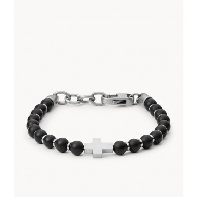 Мъжка гривна Mens Dress Black Agate and Stainless Steel Beaded