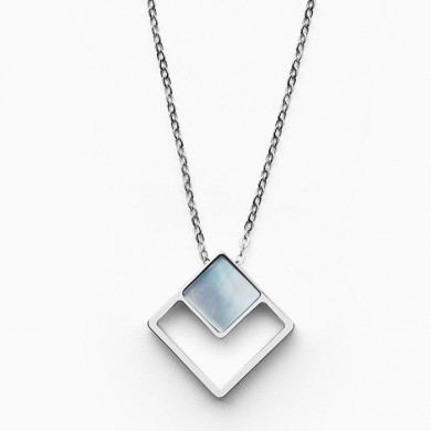 Дамско колие Agnethe Silver-Tone Mother-of-Pearl Square