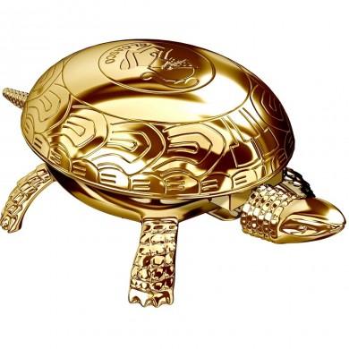 Костенурка - преспапие и звънец 23 KT Gold