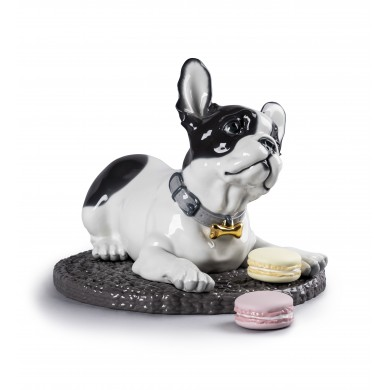 Порцеланова фигура – French Bulldog with Macarons  – Dog Figurine