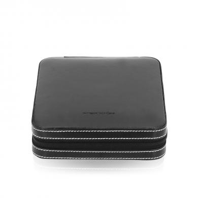Кутия за ръкавели - Cuff and Ring Box London with Elastic Loops - Black