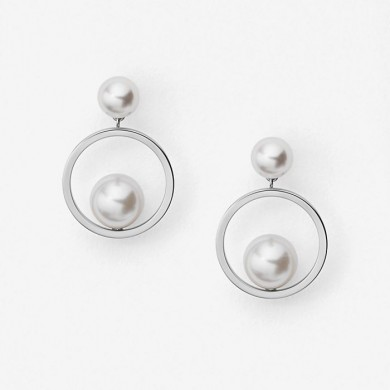 Дамски обеци  Agnethe Silver-Tone and Pearl Drop
