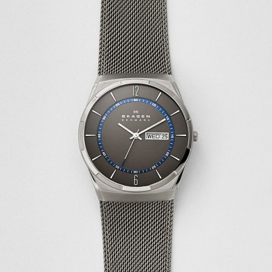 Melbye Titanium and Gray Steel-Mesh Day-Date