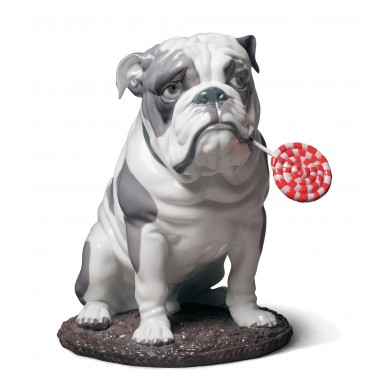Порцеланова фигура – Bulldog with Lollipop – Dog Figurine